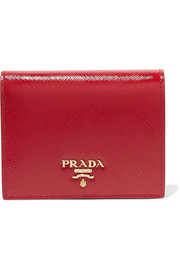 Prada Patent textured-leather wallet
