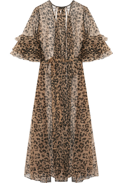 Rosamosario - Bossie Bye Leopard-print Silk-organza Robe - Leopard print