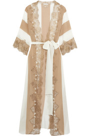 Emiro Love metallic lace-trimmed crepe de chine robe