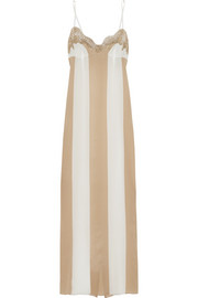 Rosamosario Emiro Love lace-trimmed striped silk-crepe nightdress