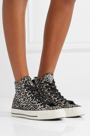 Chuck Taylor All Star '70 leopard-print pony hair high-top sneakers