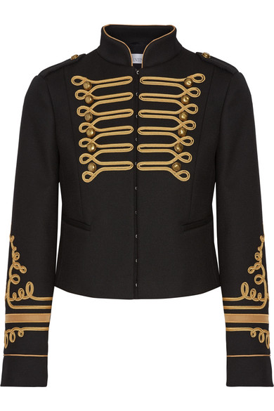REDValentino - Cropped Embroidered Twill Jacket - Black