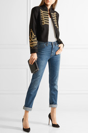 Cropped embroidered twill jacket