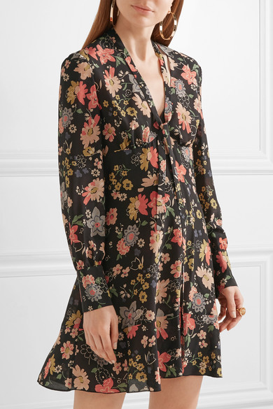 b5073ea9234 REDValentino | Floral-print silk-georgette mini dress | NET-A-PORTER.COM