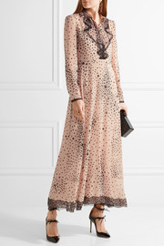 Lace-trimmed printed stretch-silk georgette gown