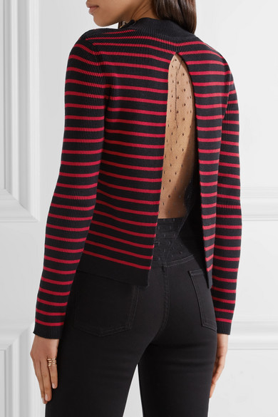 Tulle-paneled Striped Cotton Sweater - x large Red Valentino Free Shipping 2018 Unisex 100% Original Cheap Price Online Cheap Authentic Prices Sale Online Largest Supplier Cheap Price FJ6R0Jml