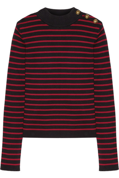 REDValentino - Tulle-paneled Striped Cotton Sweater