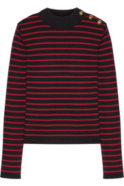 REDValentino Tulle-paneled striped cotton sweater