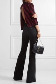 Tulle-paneled striped cotton sweater