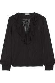 REDValentino Ruffled stretch-silk chiffon blouse