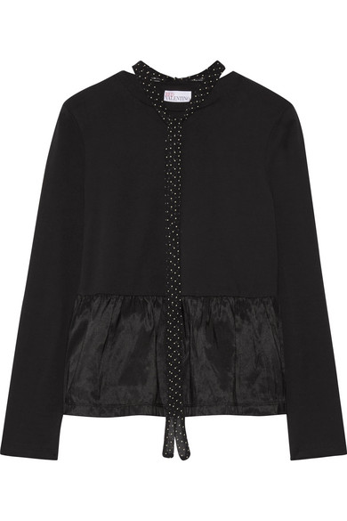 REDValentino - Pussy-bow Satin Jersey-paneled Cotton-jersey Peplum Top - Black