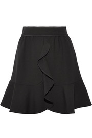 Ruffled crepe mini skirt