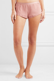 Lace-paneled cotton-blend shorts
