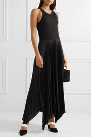 Theory Vinessi ribbed stretch-knit and pleated satin maxi dress