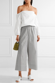 Theory Laureema off-the-shoulder cotton-blend poplin top