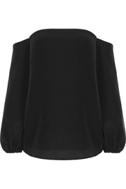 Theory Laureema off-the-shoulder silk crepe de chine top