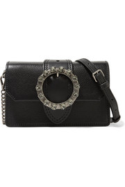 Miu Lady embellished smooth and textured-leather shoulder bag
