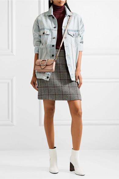 Miu Miu Miu Lady verzierte Schultertasche aus glattem und strukturiertem Leder