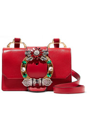 Miu Miu Lady embellished textured-leather shoulder bag