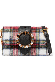 Miu Miu Embellished leather and tartan wool-blend shoulder bag