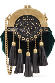 Embellished textured leather-trimmed velvet clutch