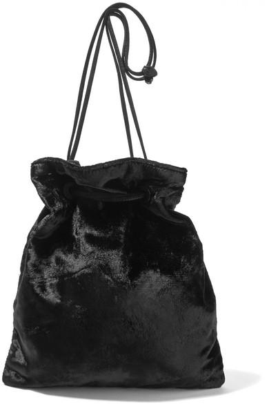 Miu Miu - Suede-trimmed Velvet Clutch - Black