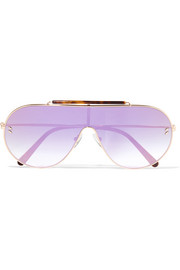 Oversized aviator-style gold-tone and tortoiseshell acetate mirrored sunglasses
