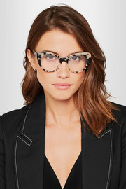 Chain-trimmed cat-eye  acetate optical glasses