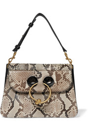 Pierce medium leather-trimmed python shoulder bag