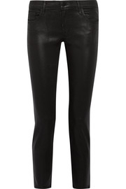 J Brand Hipster coated low-rise skinny jeans