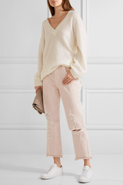 J Brand Ivy cropped distressed high-rise straight-leg jeans
