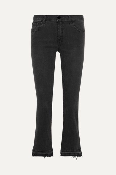 SELENA CROPPED MID-RISE FLARED JEANS