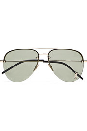 Aviator-style gold-tone mirrored sunglasses
