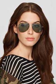 Saint Laurent Aviator-style gold-tone mirrored sunglasses