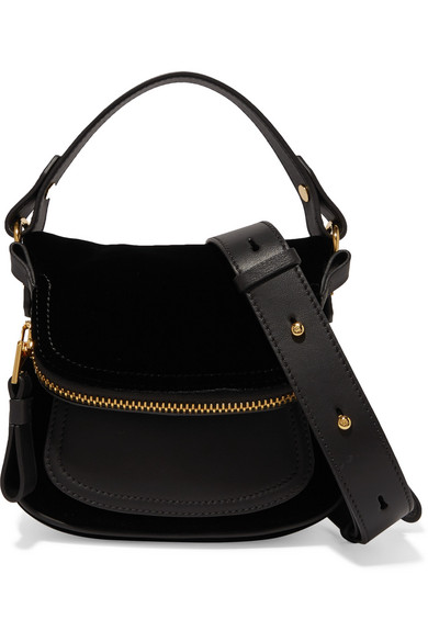 e65f9228aa6f TOM FORD. Jennifer small velvet and textured-leather shoulder bag