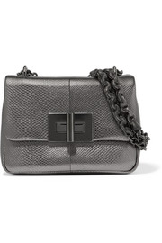 Natalia metallic watersnake shoulder bag