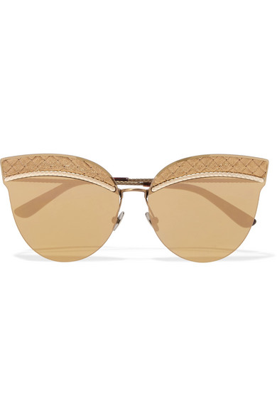 Cat-eye leather-trimmed gold-tone sunglasses