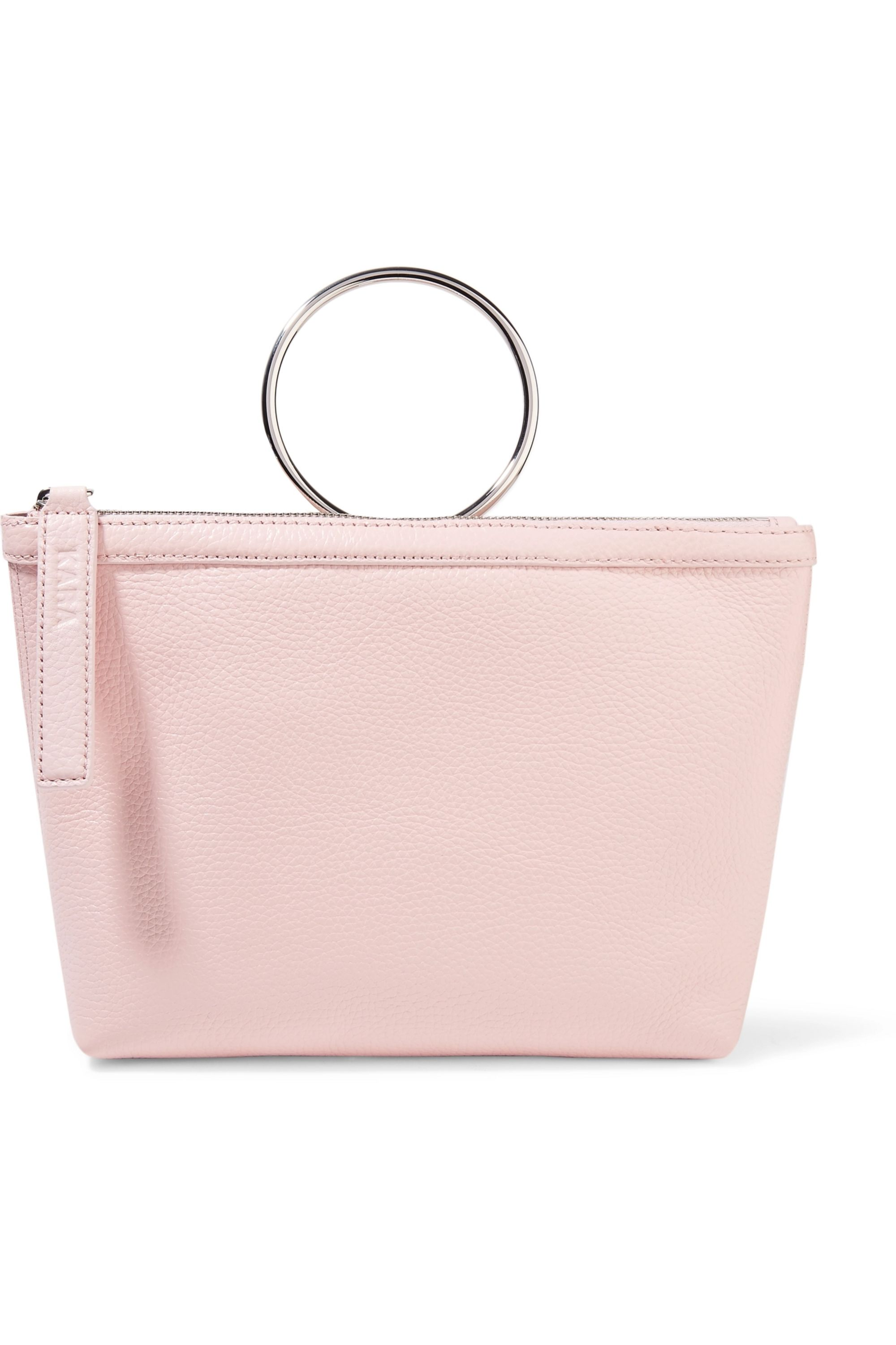 KARA Ring textured-leather clutch