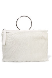 KARA Ring textured leather-trimmed calf hair clutch