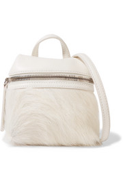 Micro textured-leather and calf hair shoulder bag