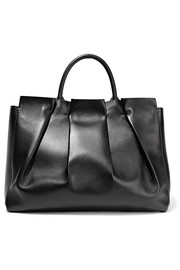 The Row Peggy gathered leather tote