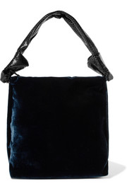 The Row Wander python-trimmed velvet shoulder bag