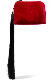 Wristlet mini tasseled velvet clutch
