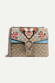 Gucci Dionysus medium appliquéd coated-canvas and suede shoulder bag