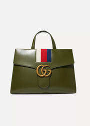 GG Marmont striped canvas-trimmed leather tote