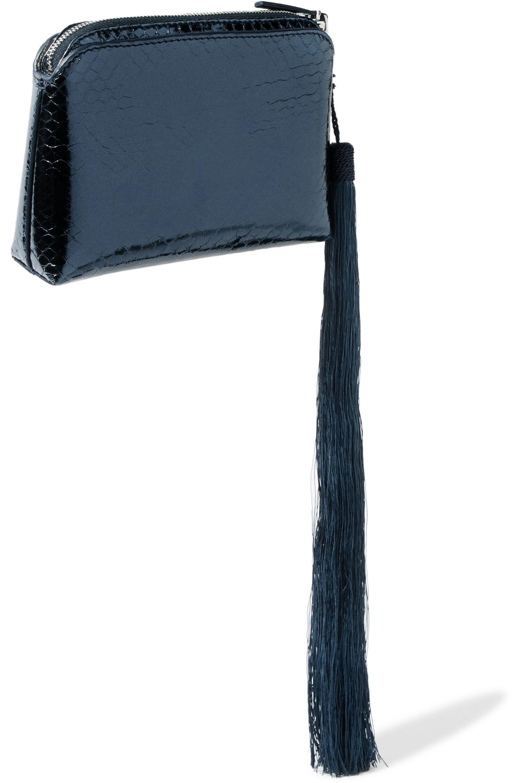 The Row Wristlet mini tasseled metallic watersnake clutch