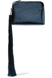 The Row Wristlet mini tasseled metallic watersnake clutch