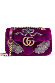 GG Marmont small embellished velvet shoulder bag
