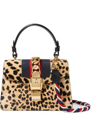 Gucci Sylvie mini leather-trimmed calf hair shoulder bag