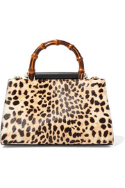 Gucci Nymphaea mini leopard-print calf hair and leather tote